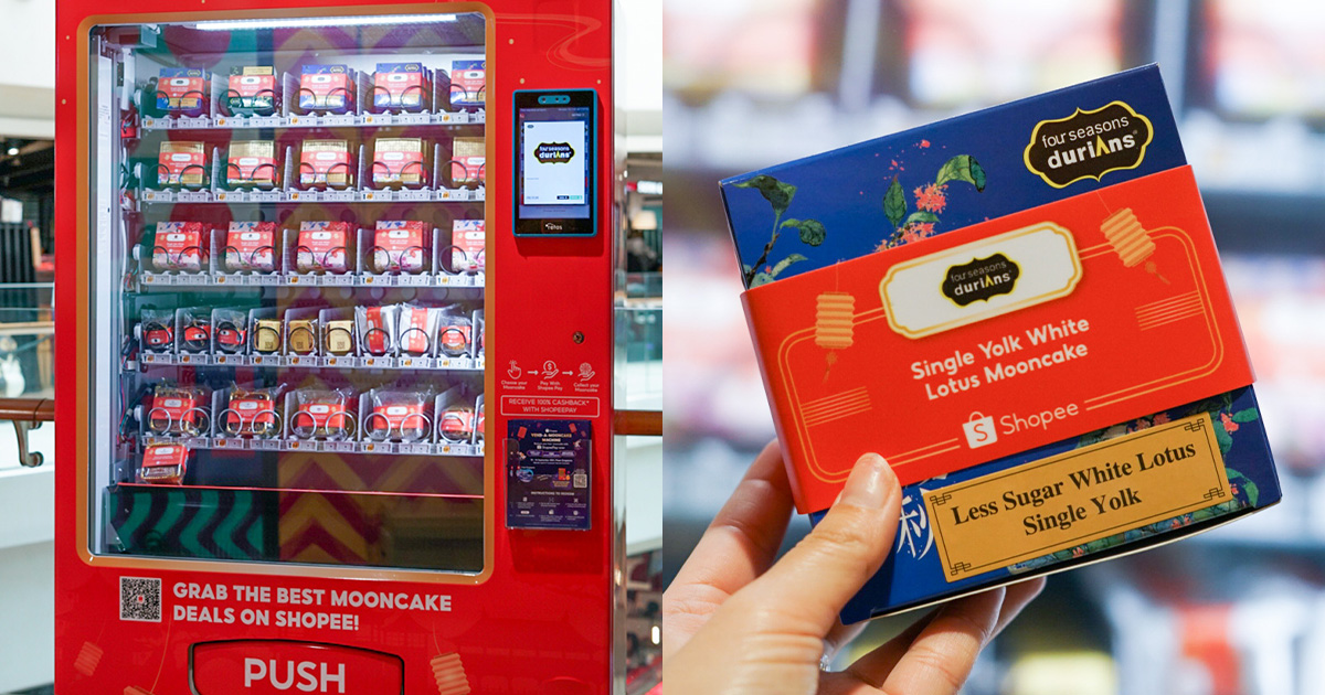 Mooncake Vending Machine in Plaza Singapura has $1 Mooncakes from 13 brands you can pay with ShopeePay