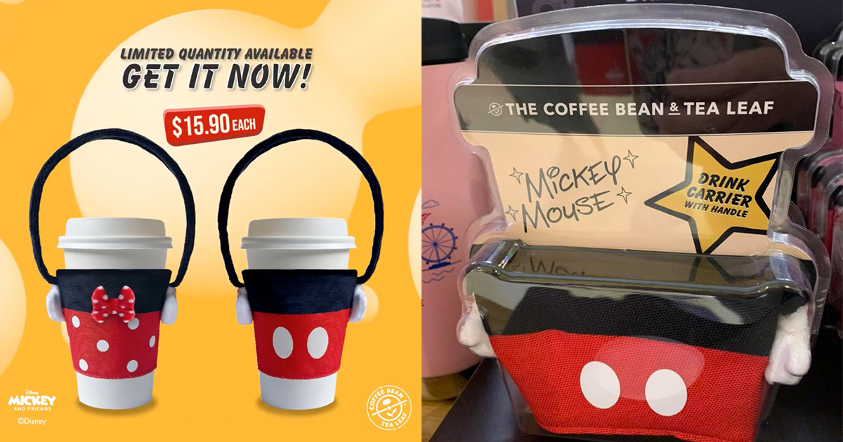 Coffee Bean sells Mickey & Minnie Drink Carriers for $15.90 each, enjoy hot drinks without burning your fingers