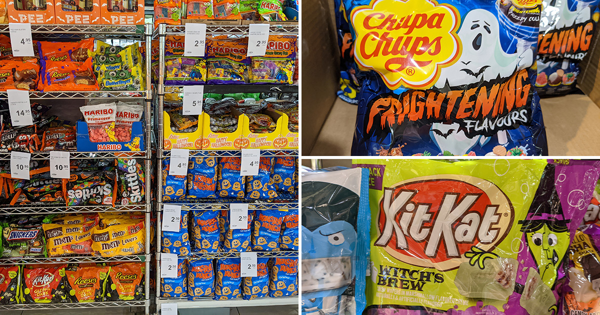 Cold Storage selling lots of Halloween-themed Candies & Snacks including Kit Kat, Haribo, Skittles & more
