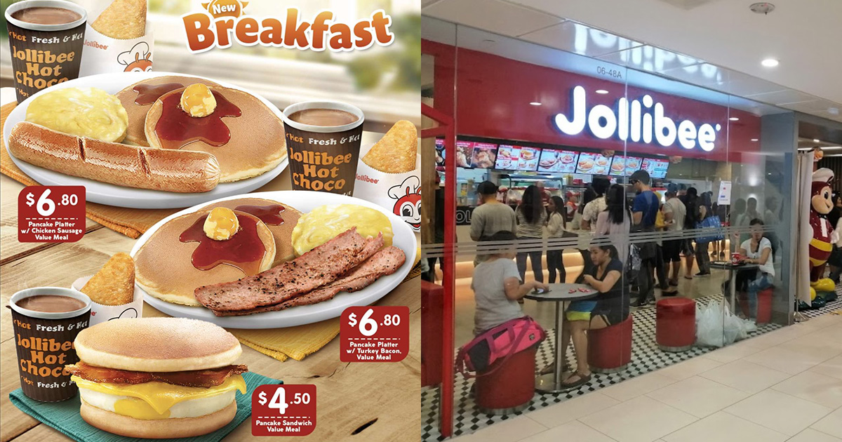 Jollibee S'pore launches new Breakfast Menu, has Pancake Platters and Sandwich to choose from
