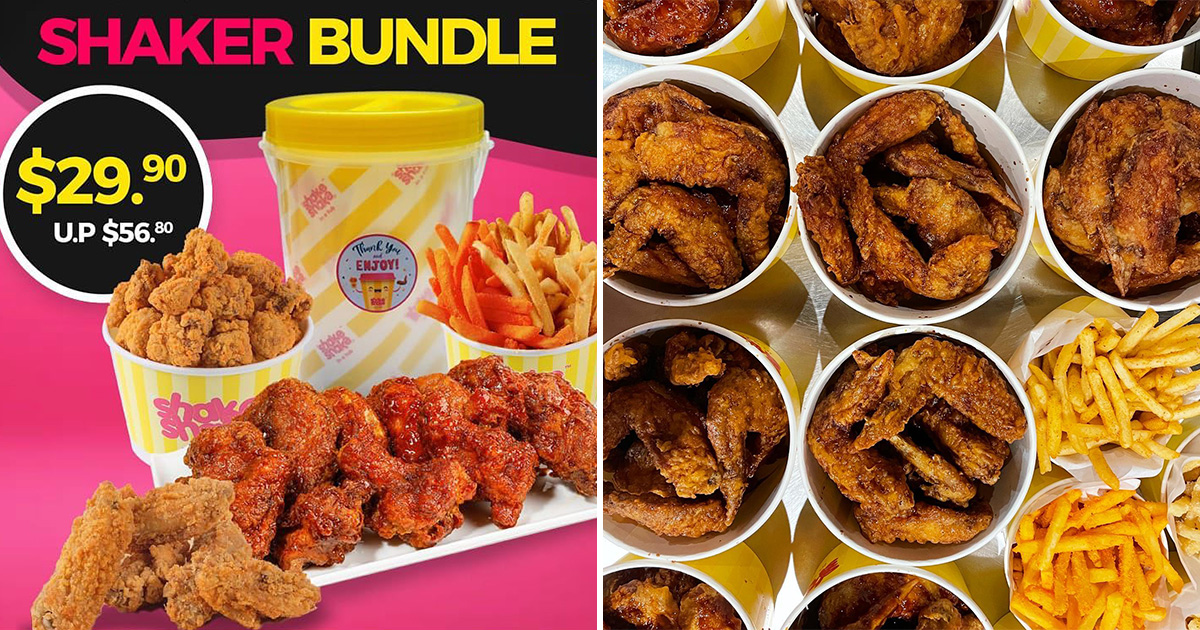 Shake Shake in a Tub new $29.90 Family Bundle has 8pc Chicken, 10pc Mid Wings, Fries & more till further notice