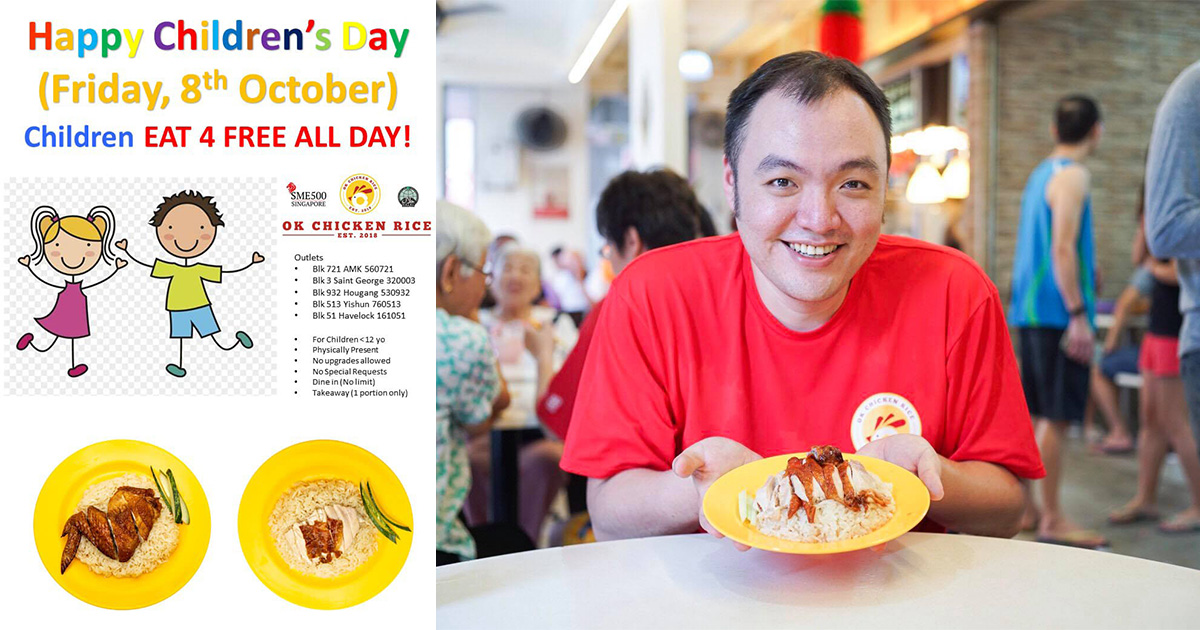 OK Chicken Rice to offer FREE plate of Chicken Rice for all Children on Oct 8 at 5 locations in S'pore