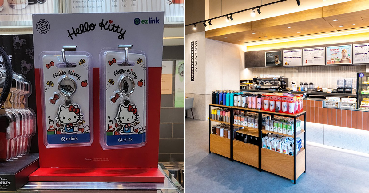 Embroidery Hello Kitty EZ-Link Charm available in Coffee Bean stores for $29.90 each