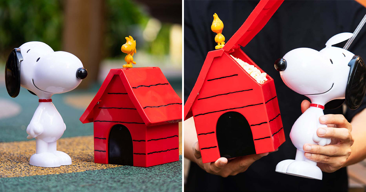Golden Village selling Snoopy Tumbler & Doghouse Popcorn Bucket from $14.50 at all cinema outlets