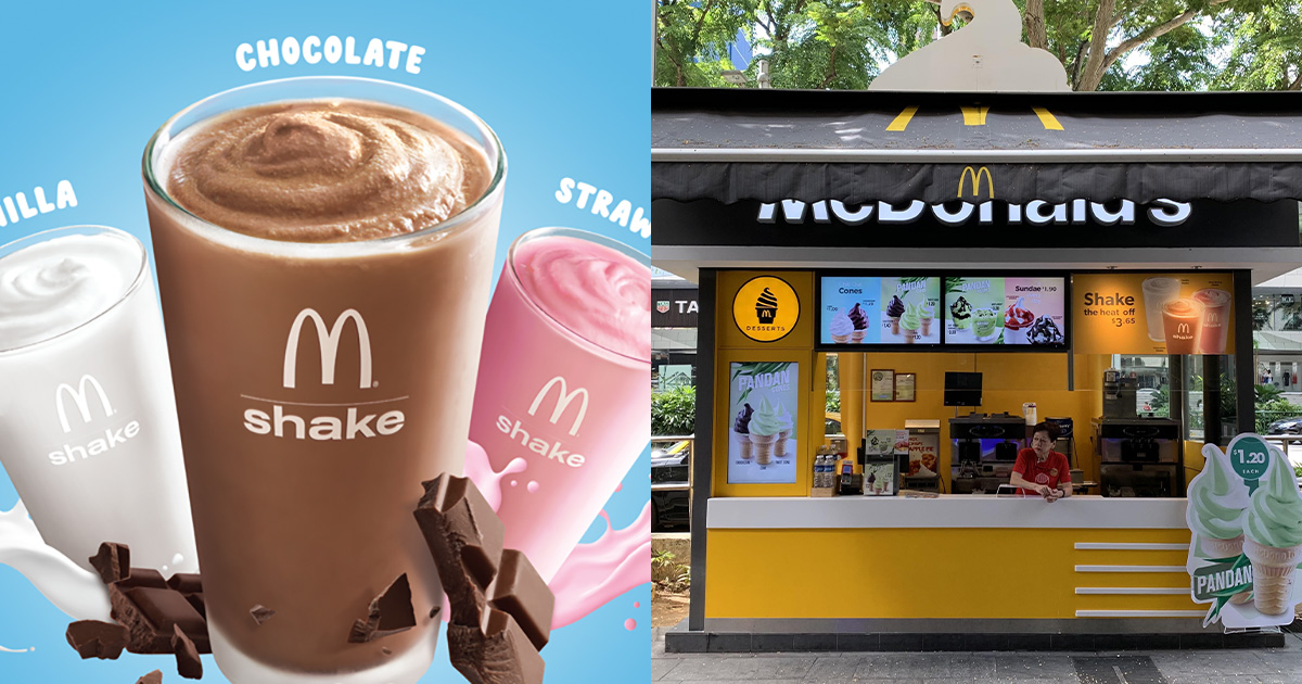 McDonald's S'pore selling 2 Shakes for $3 till Oct 24, choose from Vanilla, Choc & Strawberry flavours