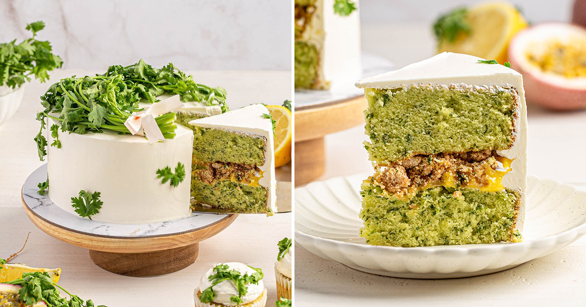 Coriander Cake now a thing in S'pore, costs $58 for whole cake and has passionfruit curd layer