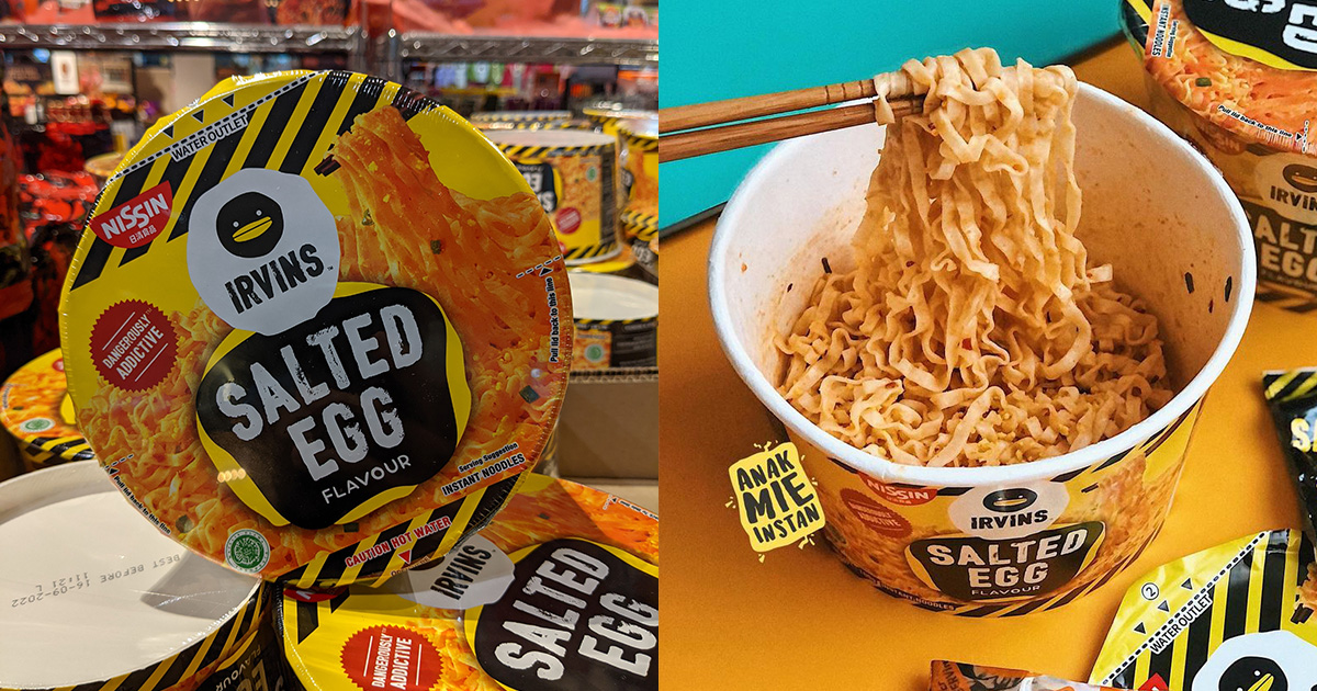 FairPrice selling NISSIN x IRVINS Salted Egg Instant Noodle Bowl for $2.65, has lots of stocks available