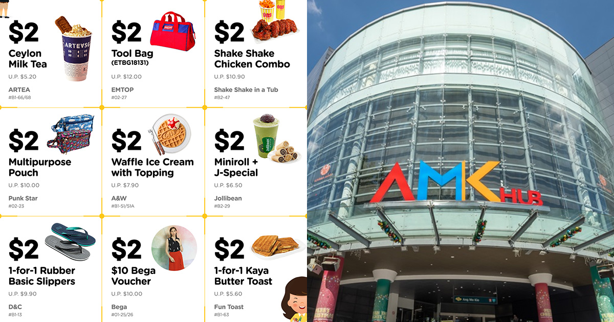 AMK Hub has $2 Deals to redeem daily till Nov 4 including Bubble Tea, A&W Coney Dog, 1-FOR-1 Kaya Butter Toast & more